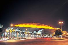 Picture of lit up Tropicana Field at night time