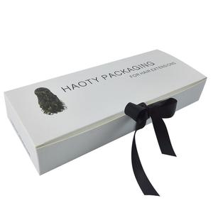 Hair extension box with ribbon