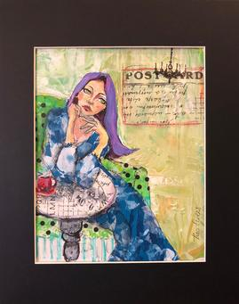 "Each painting focuses on how women process emotions, and how that gives them a different experience of the world...women attach their memories to an emotional component. Her decisions and reactions are based on all her memories past and present, including her subconscious ones...therefore...poker face does not come easy… ""Which is where my ""Feminine Nature"" series meets the drawing board!"" - Traci Owens"