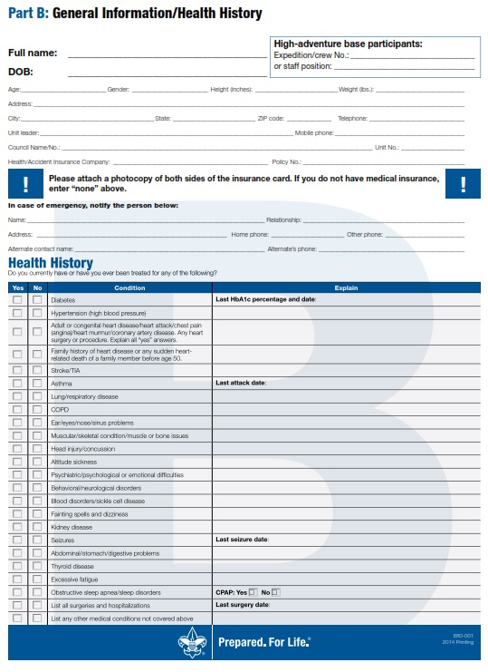 Bsa Medical Form. All Boy Scouts And Adult Leaders Must Present A