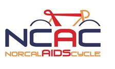 Red, blu and gold logo that reads NorCal AIDS Cycle.