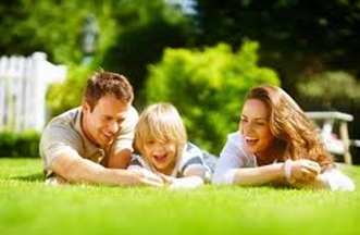 picture of family on lawn