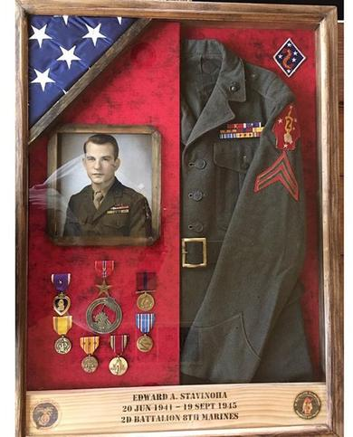 Shadow box with military uniform, photo and medals and custom engraved name, unit.