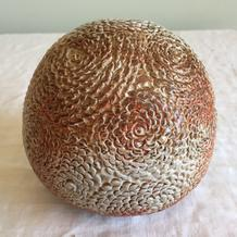 Chrysanthemum sphere by Janice Hill Pottery, hand-thrown, hand-incised, wood-fired stoneware ceramics.