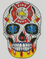 Cross Stitch Chart of Sugar Skull No 44 (Fire Dept)