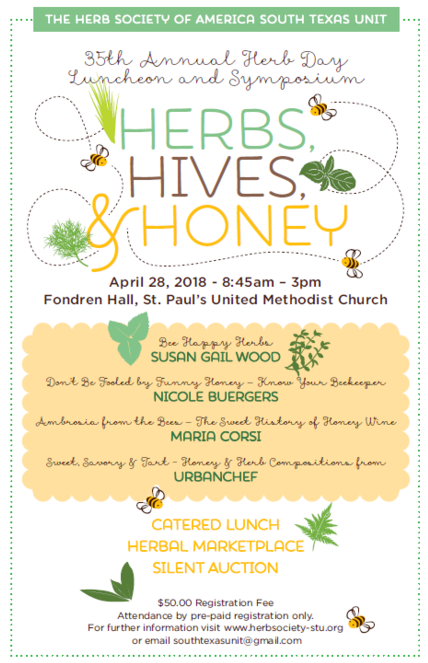 35th Herb Day Symposium: Herbs, Hives and Honey @ St. Paul's United Methodist Church, Fondren Hall Education Building | Houston | Texas | United States