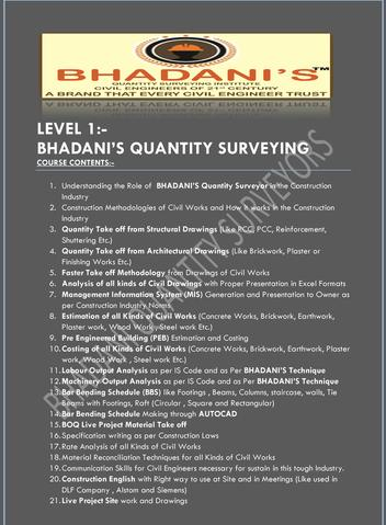 BHADANIS LEVEL 1 QUANTITY SURVEYING COURSE FOR CIVIL ENGINEERS OF INDIA DELHI KOLKATA PUNE MAHARASHTRA GHAZIABAD UTTAR PRADESH