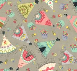 Grey Teepees Alpaca Adventures Native American Nursery Fabric