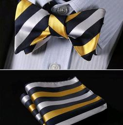 Navy and Yellow Strip Silk Bow Tie