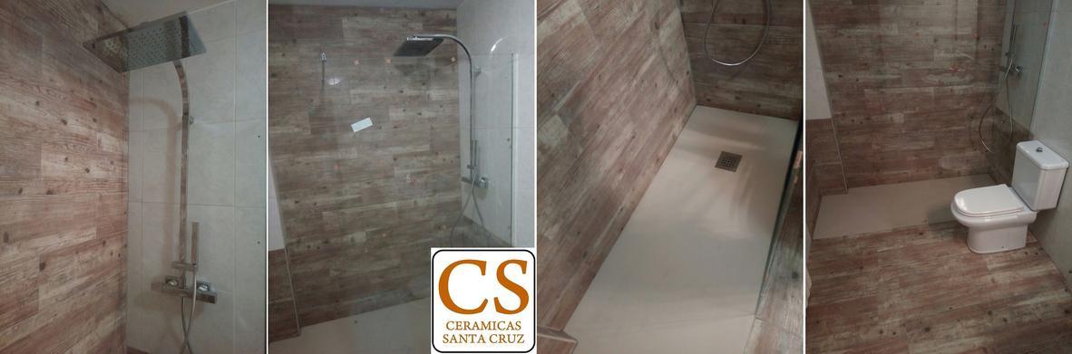 Baldosas Cuarto Baño:Reforma de cuarto de baño con baldosas y azulejos imitación madera