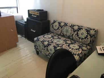 blue flower pattern ouch and Marshall amp in nyc recording studio suite