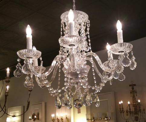 crystal chandelier crystals bobeches lights prisms french cut pendalogures