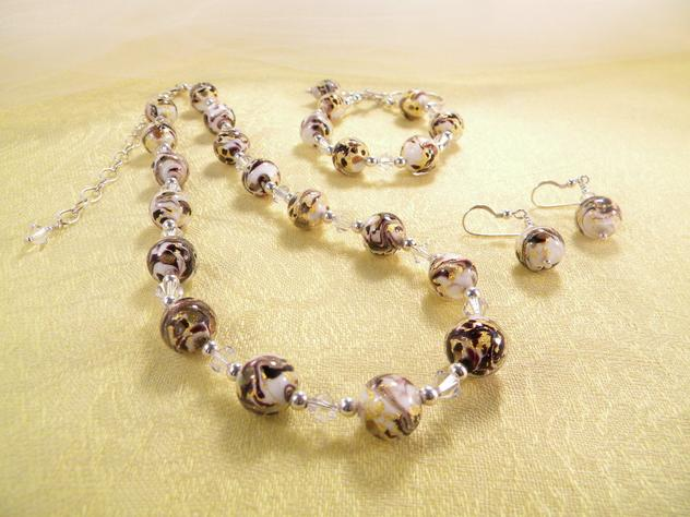 Murano Glass Necklace Marmelli 24Kt Gold