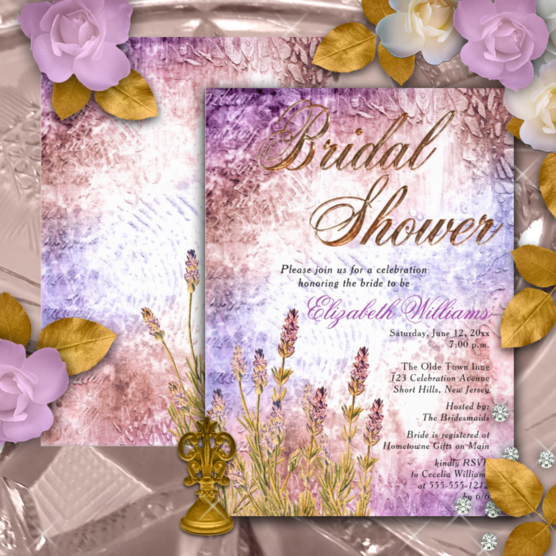 romantic purple and lavender and vintage botanical bridal shower two-sided invitations with vintage chandelier