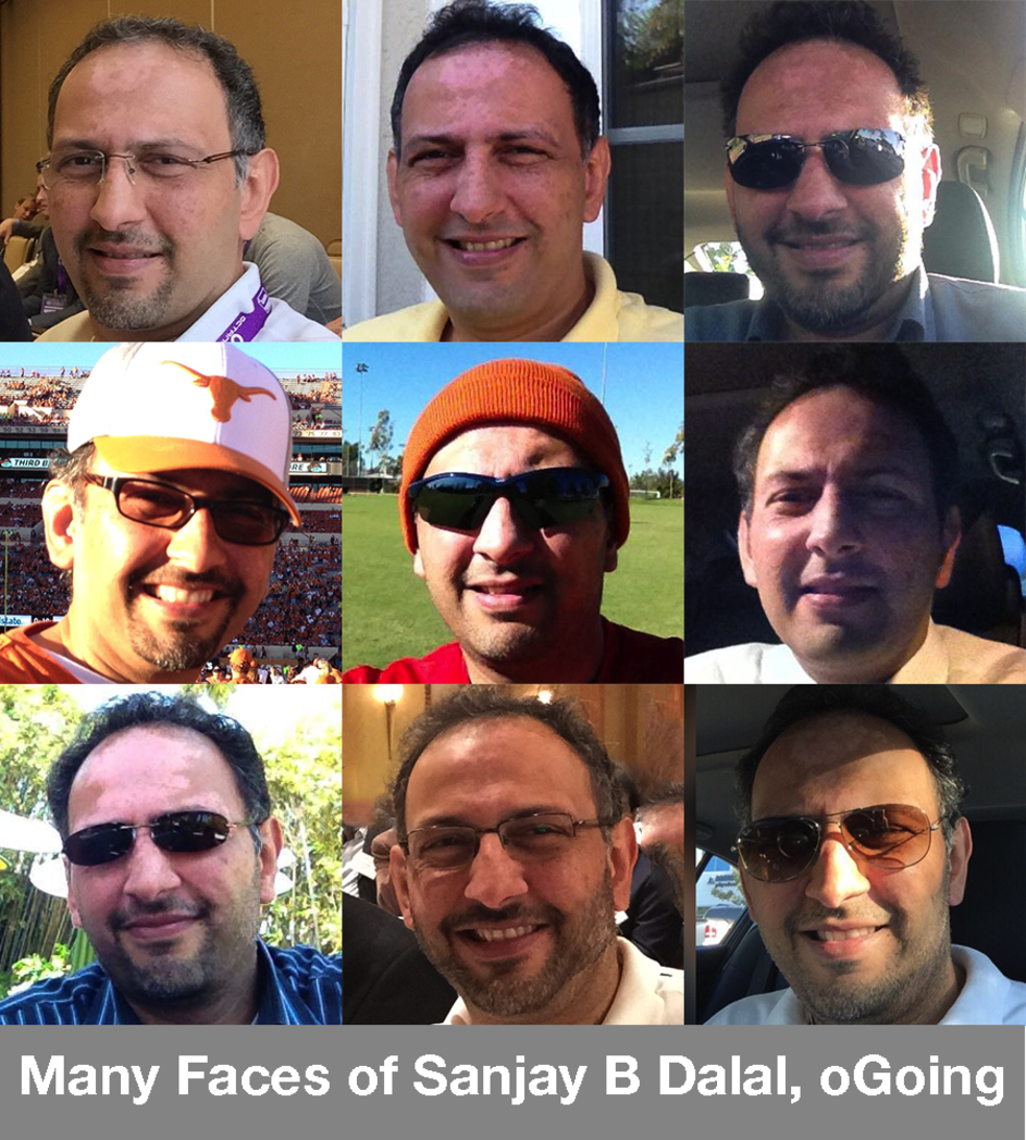 Sanjay Dalal, founder and CEO of oGoing, many faces aka selfies