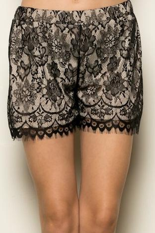 Black Nude Lace Shorts