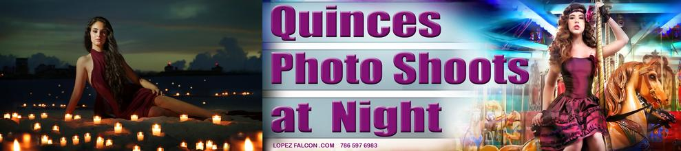 Quinceanera at night with Swing columpio para fotos de quince en Miami
