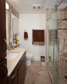 Guest bathroom with rolling glass shower doors