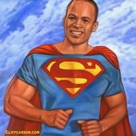 Desmond Hadden as Superman. Oil on Canvas by CLIFF CARSON