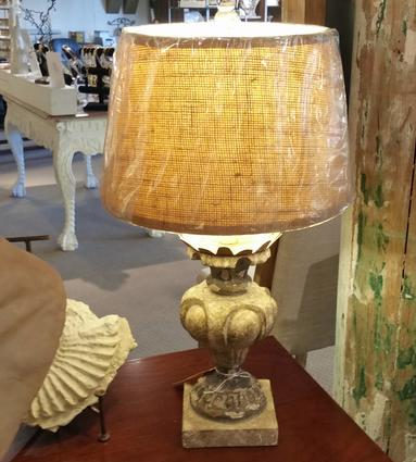 Italian Antique vintage distressed capital architectural table lamp wooden gold leaf metal with linen shade