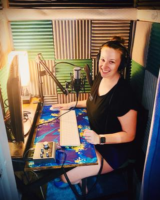 Haley, a talented voice over artist, in her home studio