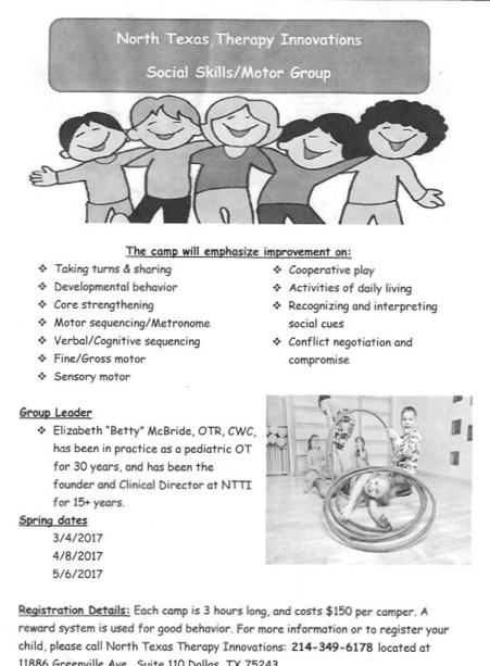 Camp for Social Skills and Motor Group