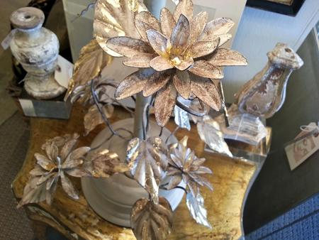 Italian leaf metal zinc antique decor plant relic wooden vintage florentine table gesso gold leaf