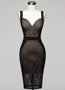 Black Mesh Bodycon Dress