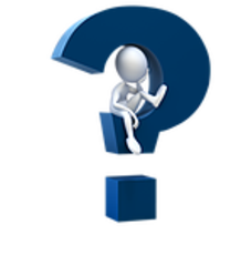 Large Blue Question Mark graphic image with a little white stick figure sitting inside looking perplexed.