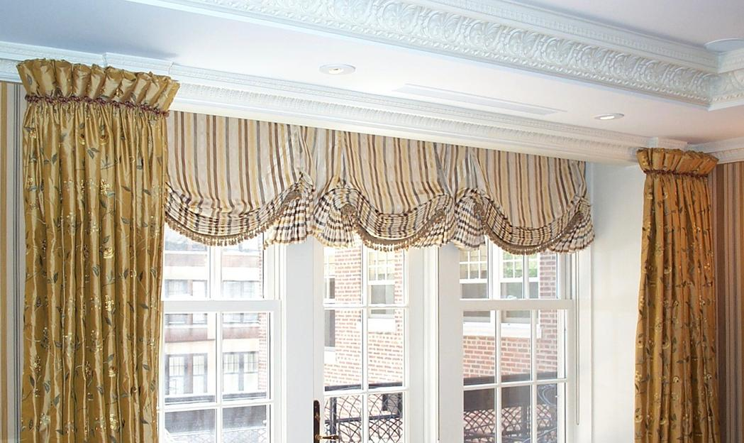 Goblet Pleat Drapery, Motorized English-Style Shades with Trim. Beauty is in the details