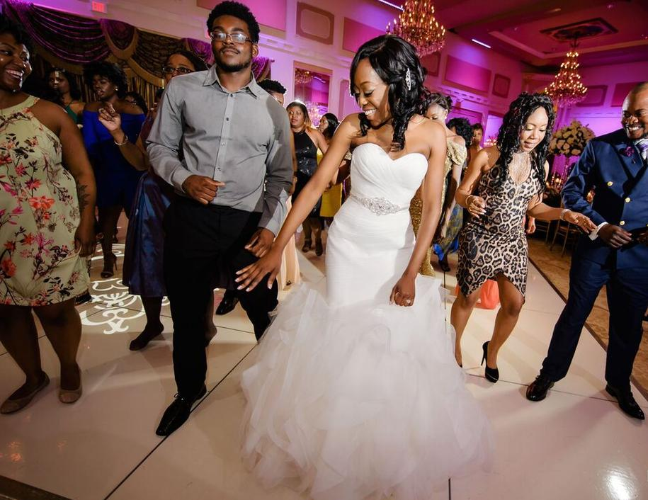 Bride and bridesmaids dancing to music by DJ 360 of 360 Elite Entertainment