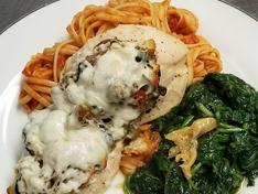 Stuffed Chicken with garlic spinach and pasta
