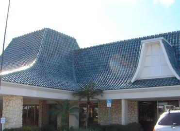 Ludowici blue clay tile Kanes Furniture store Sarasota