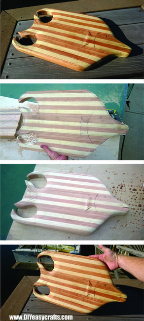 Nautical Fish Shaped DIY Butchers Block Cutting Board. Free step by step instructions. www.DIYeasycrafts.com