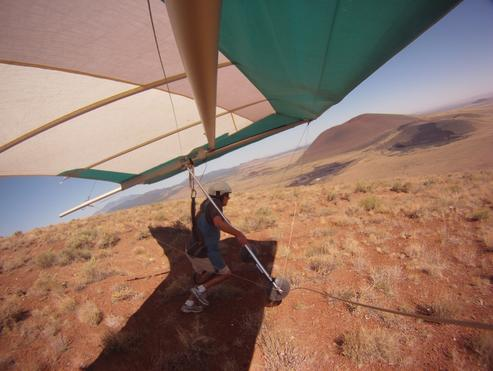 solo hang glider launch Merriam Crater Arizona