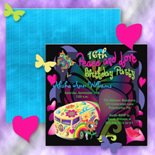 retro sixties style hippy van peace and love birthday party invitations