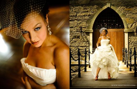 Preferred photographer Bert Reed, images of a bride in her wedding gown standing on the great hall drawbridge.