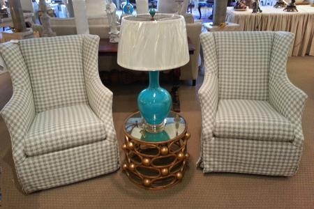 Gold table mirror top french blue new lamp C. R. Laine chairs new