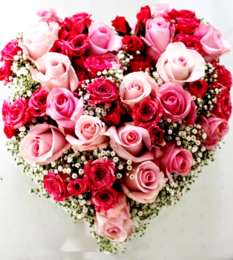 red and pink rose heart shaped arrangement-Pink-Rose-Bloom-Rose-Blooms-Flower-Red-Rose-Roses-purple-flowers purple flowers-the little flower shop-florist-london-flower-shop