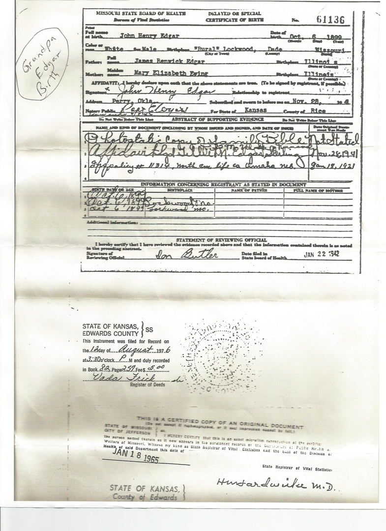 Edgar family reunions my awesome grandpa john henry edgar birth certificate his parents james renwick edgar mary elizabeth ewing edgar 1betcityfo Gallery