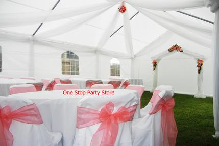 WHITE DRAPED AND CORAL ACCENT TENT