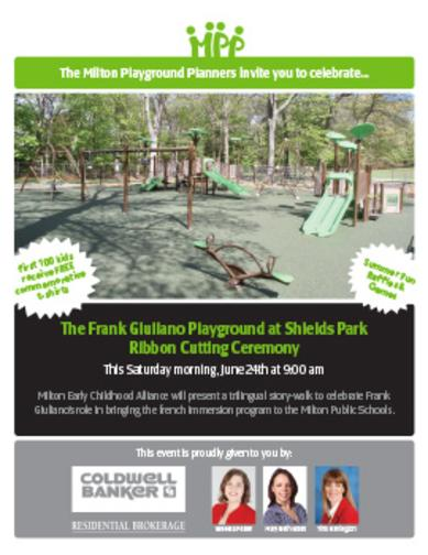 The Frank Giuliano Playground at Shields Park Ribbon Cutting Ceremony