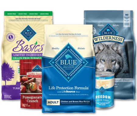 Blue Buffalo premium dog food rated 5 start, click to see individual flavors