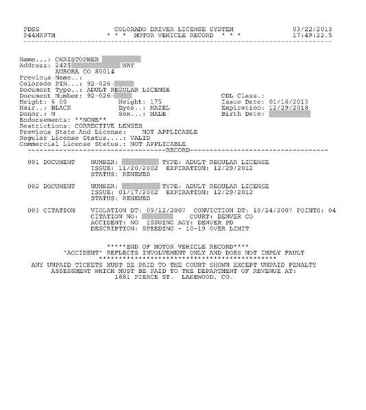 Colorado Driving Record Citations