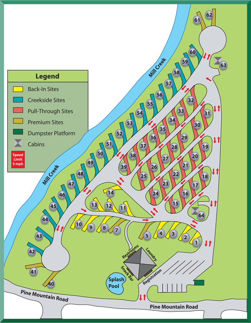 click to enlarge. pigeon forge rv park map