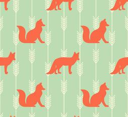 Aqua Fox and Arrow Flannel. Fox Nursery Fabric. Baby Blanket Flannel