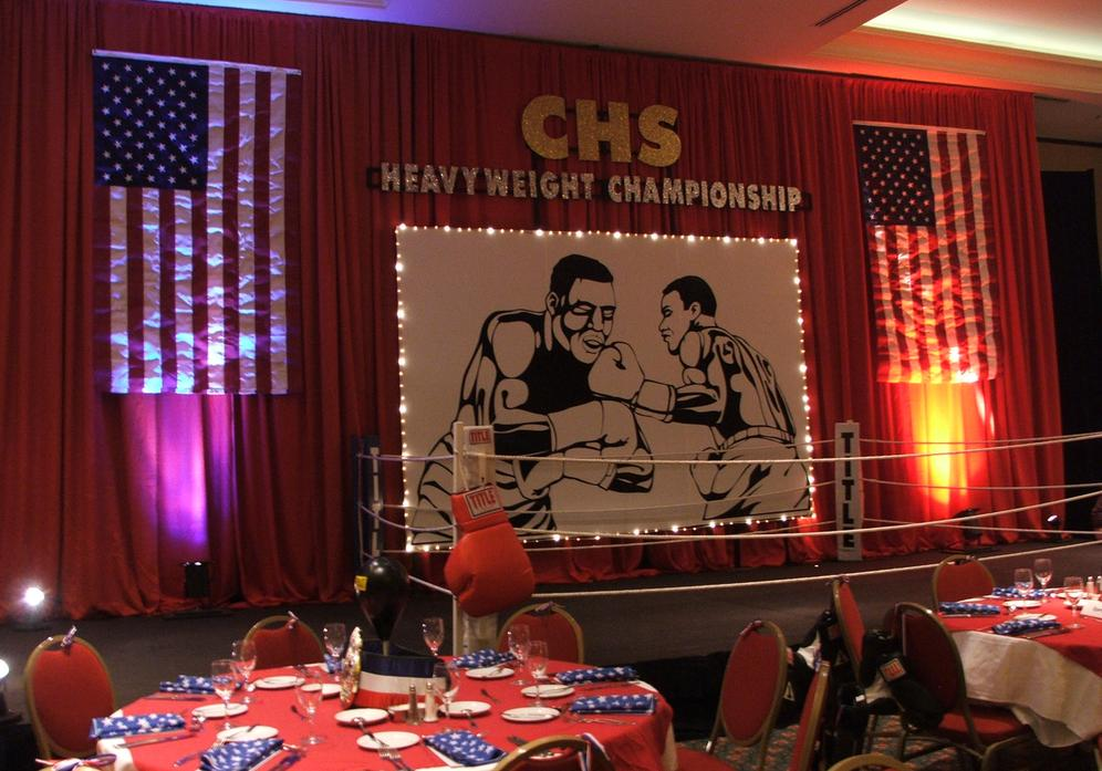 Sports Themed Stage Decor (Boxing) at a Corporate Themed Event.