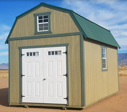 Weather King's lofted barn customized with double doors and extra windows