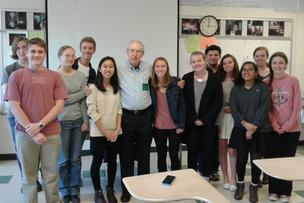 Peter Stien speaks at East Chapel Hill High School to Maureen Galvin's Senior Class