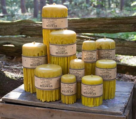 pure Canadian beeswax candles handmade in Ontario Lucky Clover Candles Hand dripped Beeswax Candles Canada